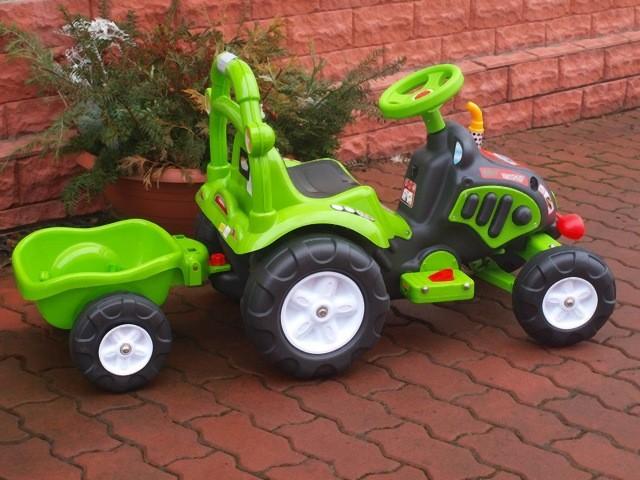 ChuChu Elektrický traktor s vlekem pro děti, zelený