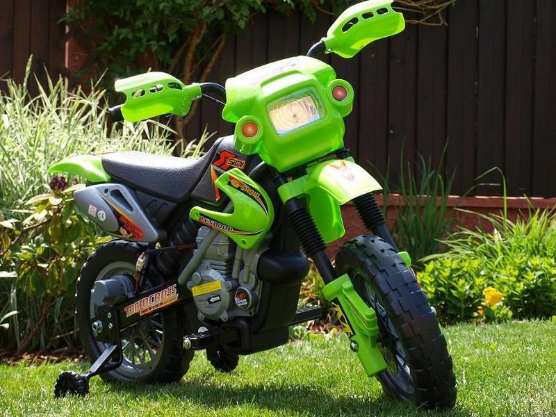 ChuChu Elektrická motorka crosska pro děti, zelená