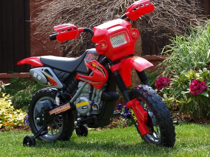 ChuChu Elektrická motorka crosska pro děti, červená