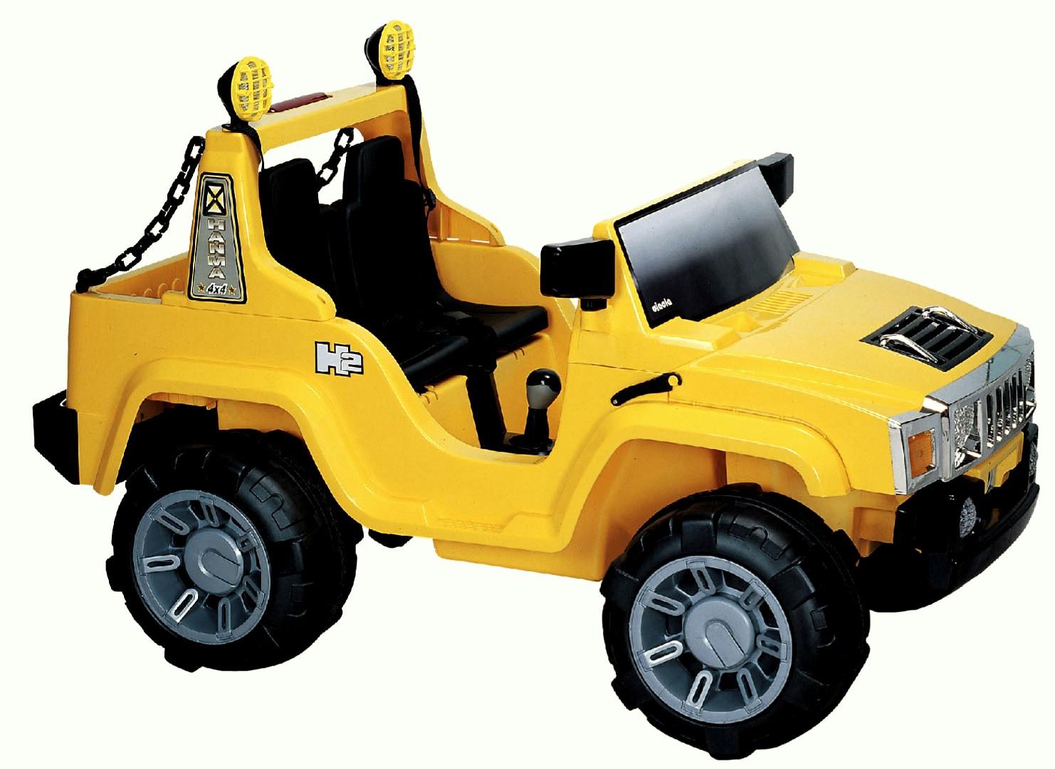 ChuChu Terénní auto pro dvě děti, 2 sedadla a 2 motory, FM rádio, žluté
