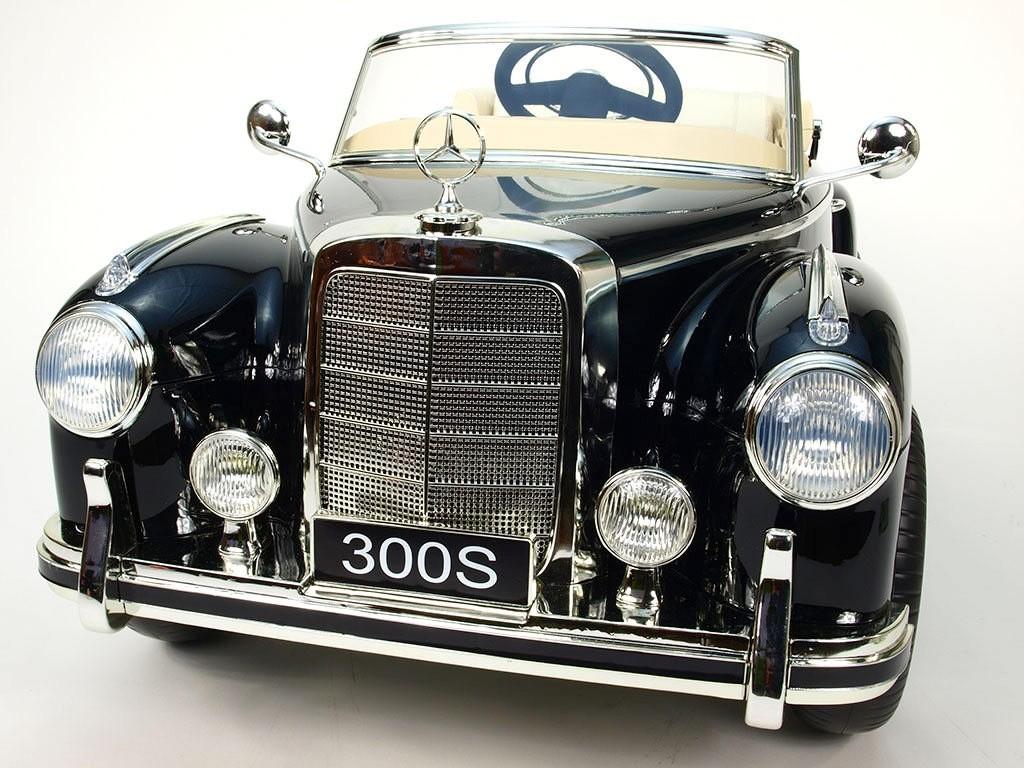 ChuChu Mercedes Benz 300S oldtimer, polstrovaná sedačka, pérování, FM a DO, 12V, černé lakované