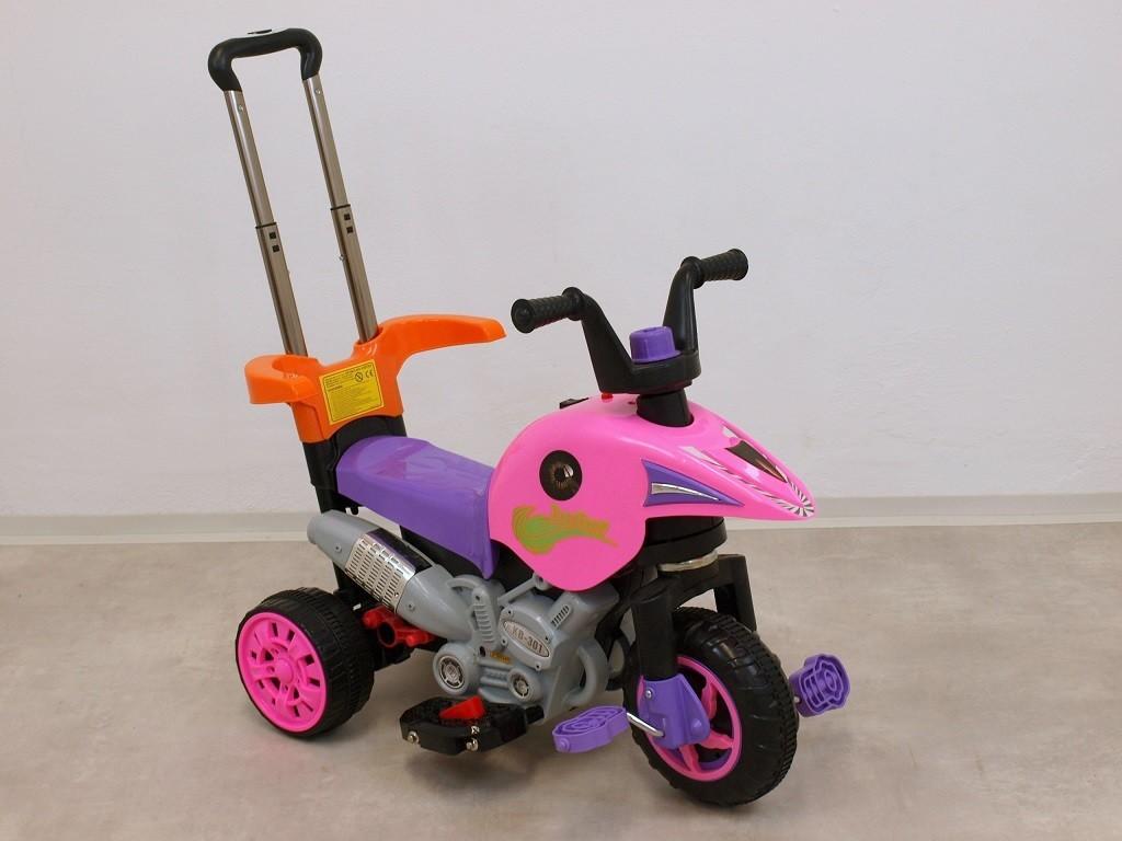 ChuChu Motorová tříkolka s vodící tyčí 3v1, růžová