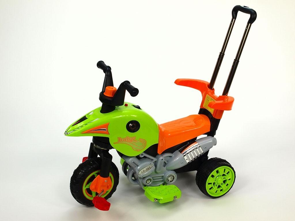 ChuChu Motorová tříkolka s vodící tyčí 3v1, zelená