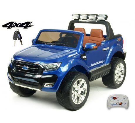 Dvoumístný Ford Ranger Wildtrak 4x4 náhon všech EVA kol, 2,4G DO, bluetooth,FM,USB,TF, otvíracími dveřmi,kapotou,čelem, 2xbaterie, modrá metalíza