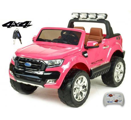 Dvoumístný Ford Ranger Wildtrak 4x4 náhon všech EVA kol, 2,4G DO, bluetooth,FM,USB,TF, otvíracími dveřmi,kapotou,čelem, 2xbaterie, růžový lakovaný