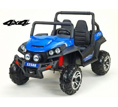 Dvoumístná Bugi V-Twin 4x4, náhon 4 EVA kol, s 2.4GHz DO, FM, Mp3, TF, bluetooth, čalouněný sedák 57cm, modrá